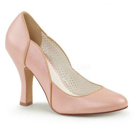 Zapatos Pin Up Couture de polipiel con reborde y costuras en dorado