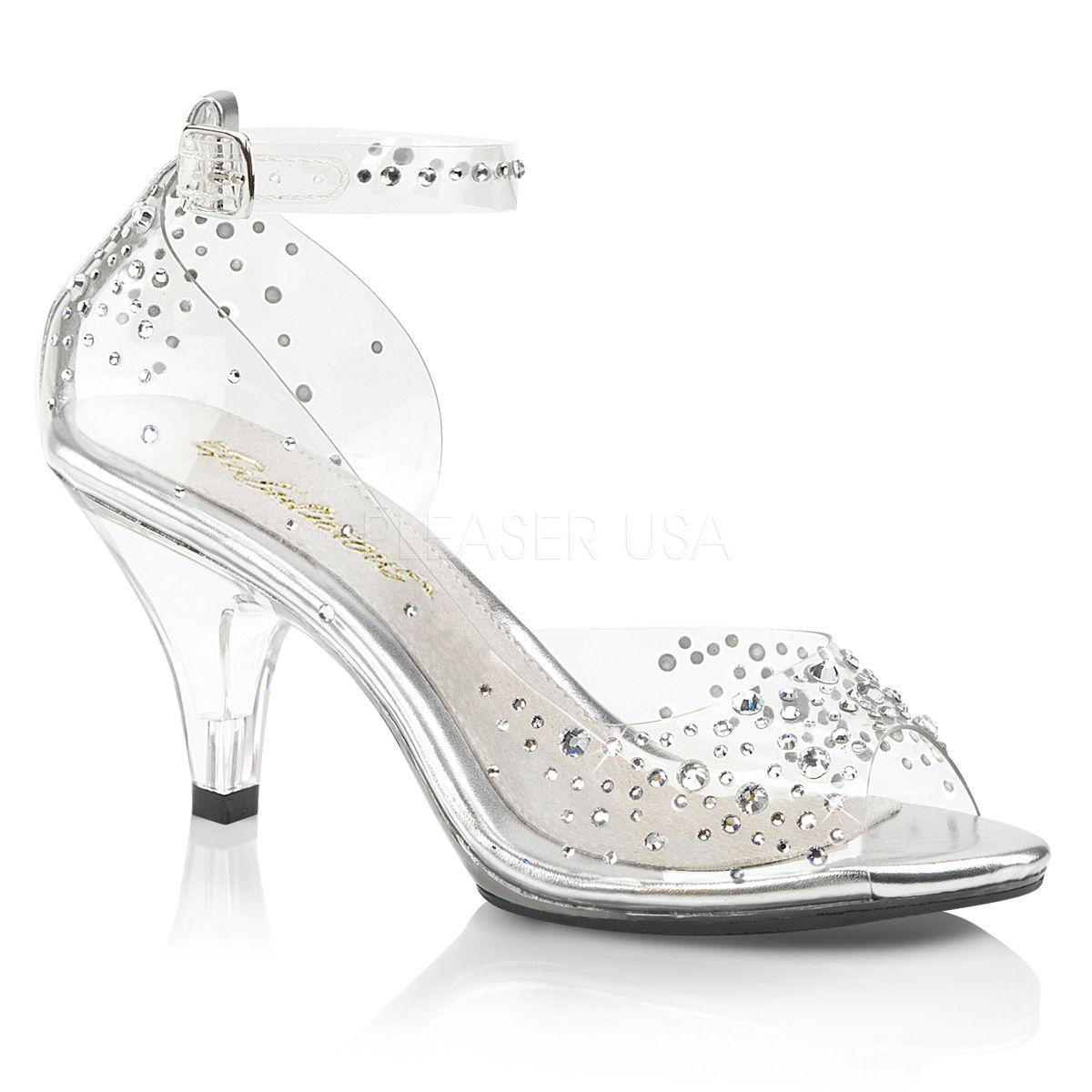 Zapatos transparentes efecto cristal y pedrería brillante talla 35 a 48