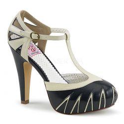Zapatos linea Pin Up Couture en 2 tonos abiertos en costados y correa