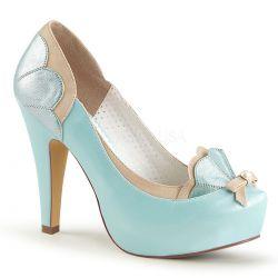 Zapatos linea Pin Up Couture combinado en 2 tonos con lazo y perla