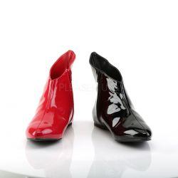Botines planos de charol en dos colores rojo/negro para disfraz héroe