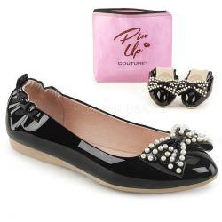 Zapatos bajos bailarinas linea Pin Up en charol con lazo y perlas