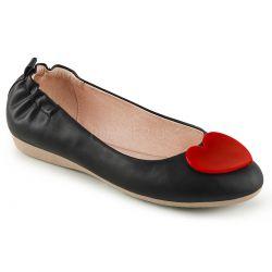 Zapatos bajos bailarinas linea Pin Up polipiel con detalle de corazón