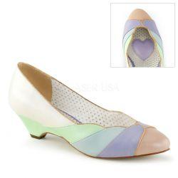 """Zapatos moda Pin Up """"Lulu"""" tacón bajo y costuras con diseño de concha"""