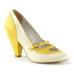 Zapatos moda Pin Up de polipiel en 2 tonos pastel y calado de corazón
