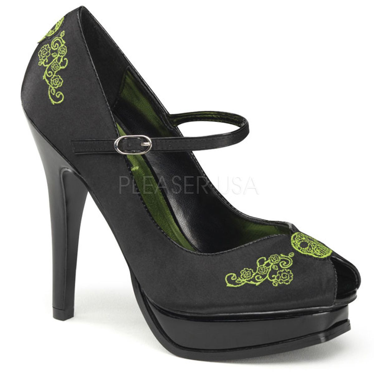 Zapato linea retro en satén con tira en empeine y punta semiabierta