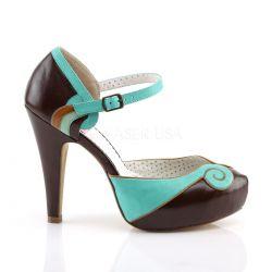 Zapatos americanos Pin Up Couture en 2 tonos estilo d'Orsay con correa