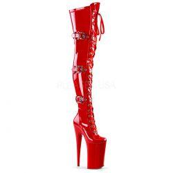Botas altas de charol acordonadas y correas con plataforma extra alta (26 cm)