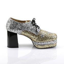 Zapatos de estilo retro con plataforma y recubiertos de purpurina