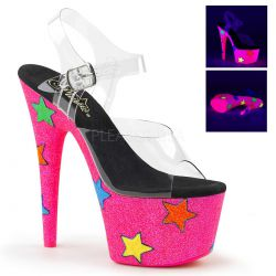 Sandalias plataforma Pole Dance en purpurina neón y estrellas de colores