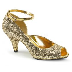 Zapatos de tacón bajo y correa recubiertos de purpurina tallas 35 a 48