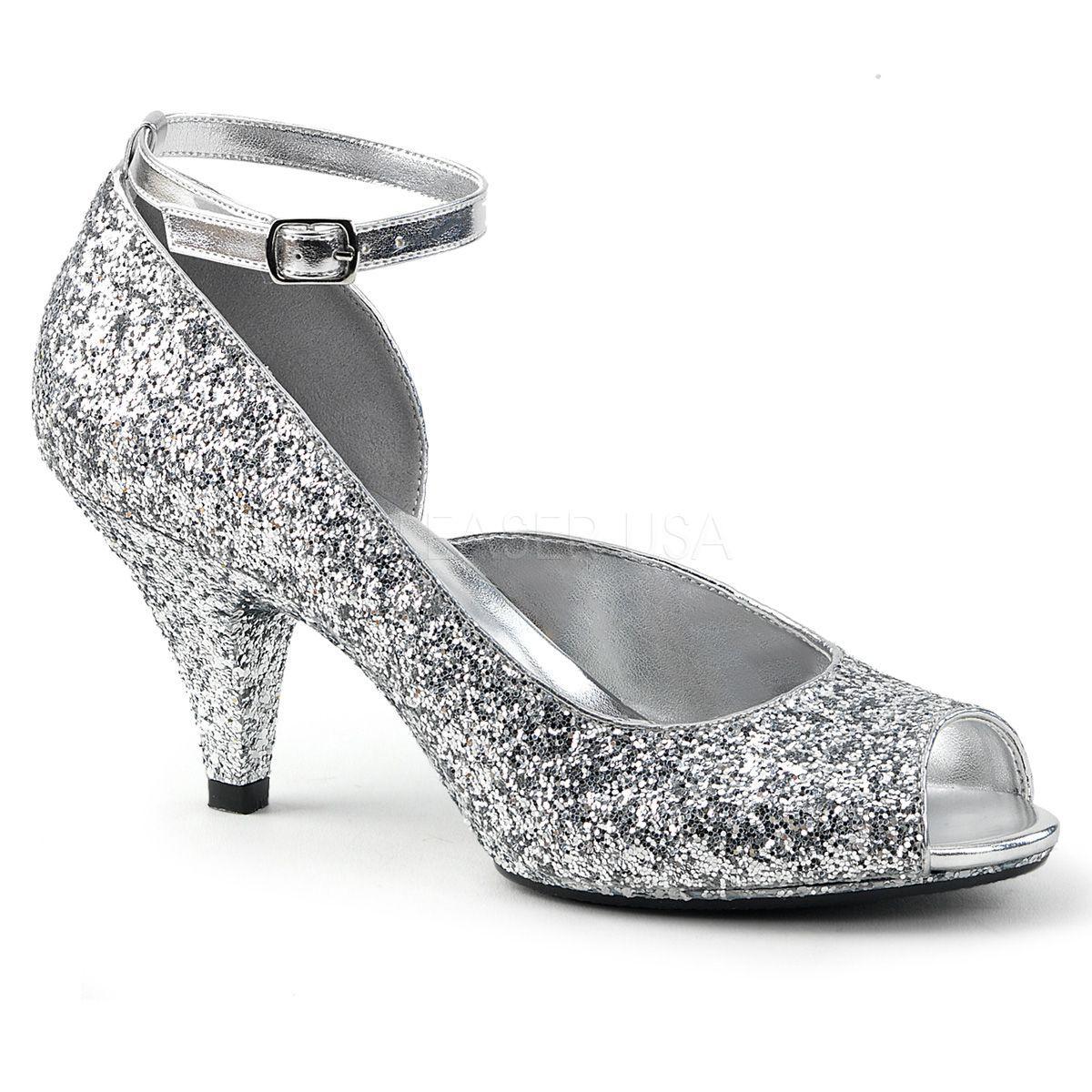 72db41f3bbc8a Zapatos de tacón bajo y correa recubiertos de purpurina tallas 35 a 48