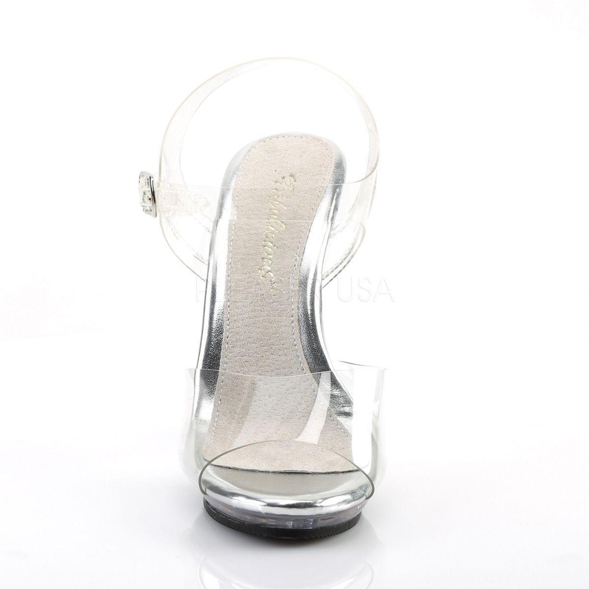 Sandalias con pequeña plataforma transparente y tacón alto con correa