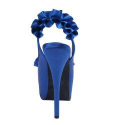 Coquetas sandalias Bordello de Pleaser diseño Peeptoe en satén con volantes