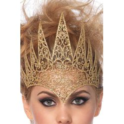 Corona real cortada a troquel que cubre parte del rostro