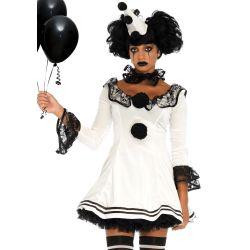 Leg Avenue disfraz divertido de carnaval de payaso Pierrot de 3 piezas
