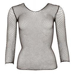 Camiseta de redecilla elástica y manga larga muy sexy y atrevida