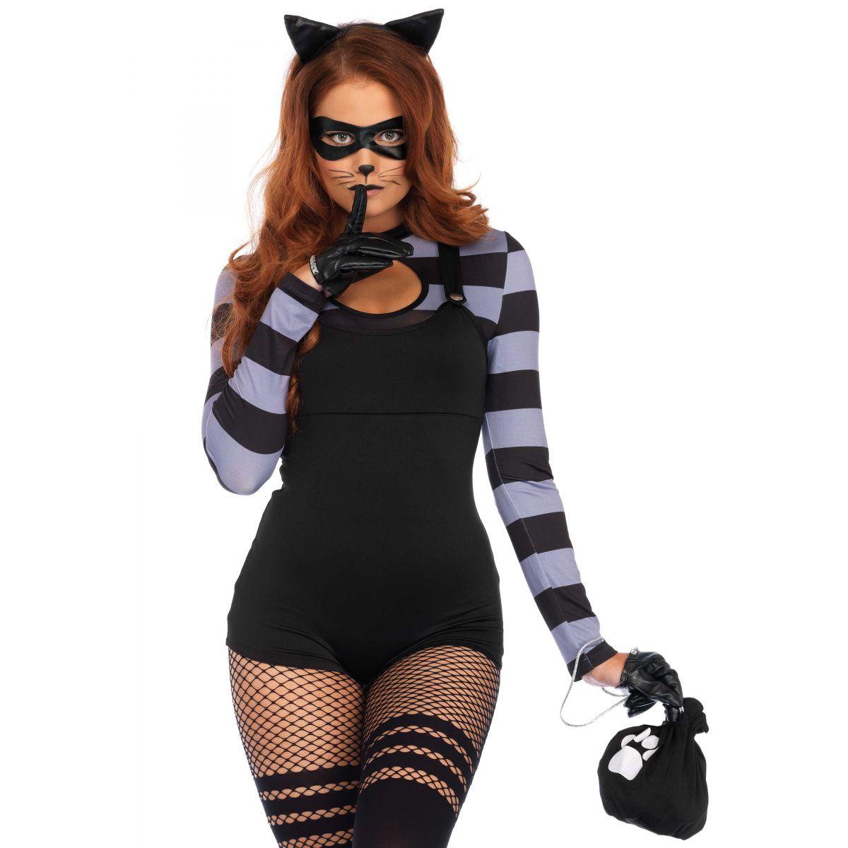 Disfraz de Leg Avenue de gatita sexy y ladrona de 4 piezas