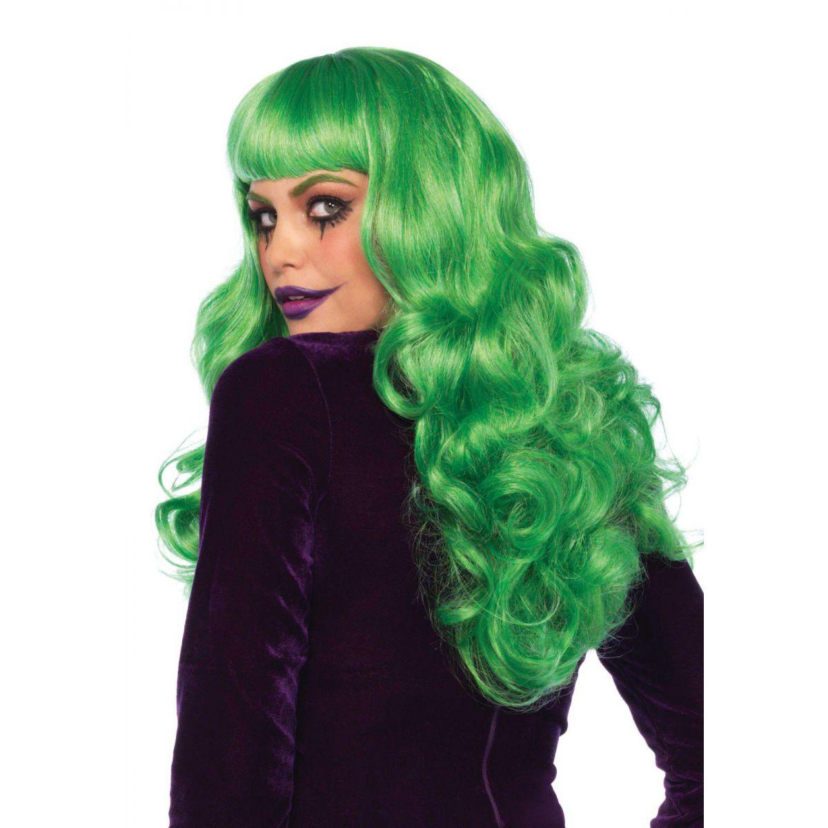 Peluca de fantasía de pelo largo ondulado de color verde con flequillo