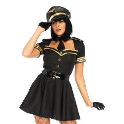 Disfraz carnaval Leg Avenue Luxury capitán de altos vuelos de 3 piezas