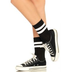 Calcetines cortos Leg Avenue estilo deportivos con doble raya blanca