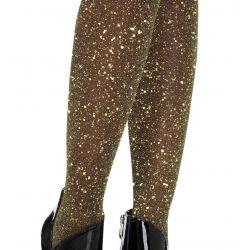 Pantys finos Leg Avenue de lurex con partículas brillantes doradas