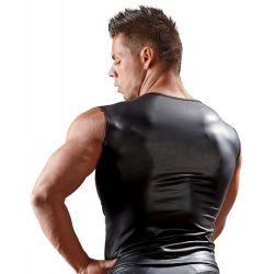 Camiseta masculina ajustada con sensual mezcla de tejidos transparentes