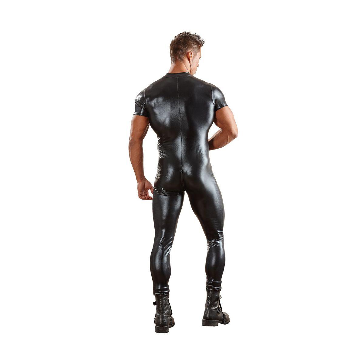 Mono catsuit masculino de tejido negro y brillante con cremallera 3 vias