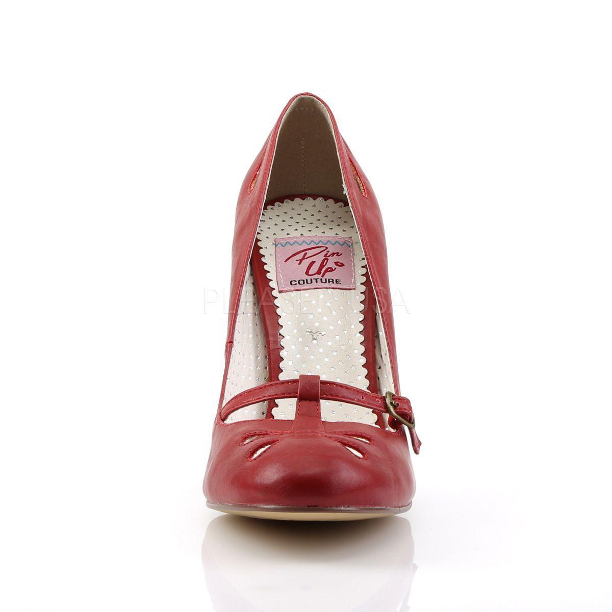 Zapatos estilo Pin Up Couture de polipiel con correa sobre los dedos