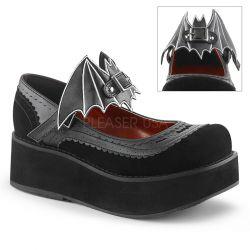 Zapatos góticos Demonia estilo Mary Jane y broche de alas demurciélago