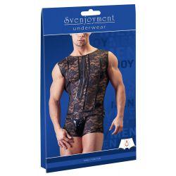 Body masculino de encaje transparente y cremallera frontal efecto elevador
