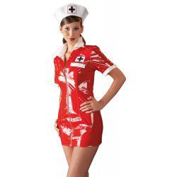 Cuidado con la enfermera sexy. Uniforme fetish en vinilo rojo brillante