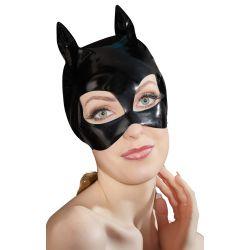Máscara de gatita en charol brillante con orejitas para tus juegos de rol