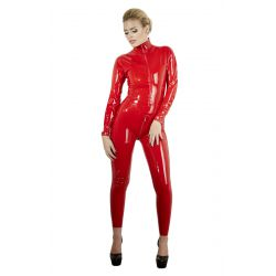 ¡Vístete de excitante goma!. Mono catsuit de látex rojo con cremalleras