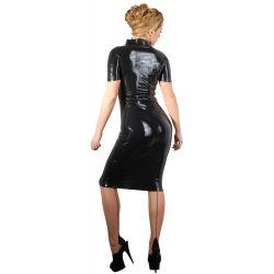 ¡Solo para fetichistas! Vestido largo de látex con cremallera de dos vias