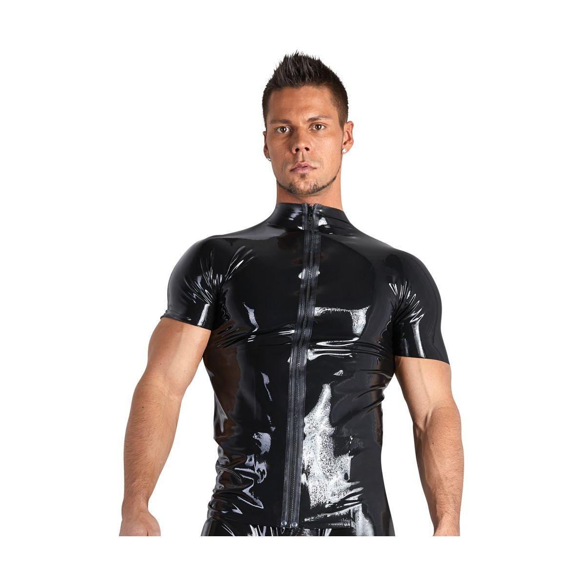 Camisa de látex masculina con mangas cortas y cremallera al frente