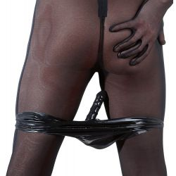 ¡Placer sin límites! Slip masculino de látex con consolador anal integrado