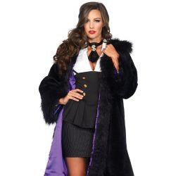 Leg Avenue abrigo sexy largo de pelo sintético y forro de satén