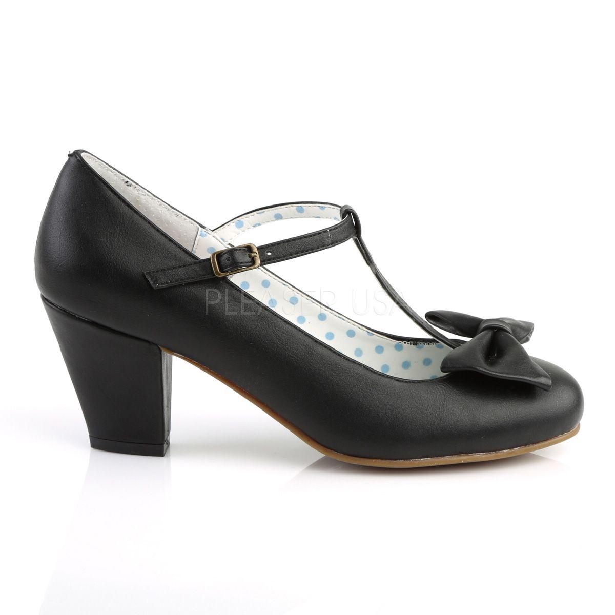 """Zapatos colección Pin Up tacón bajo con correa en """"T"""" y lazo al frente"""